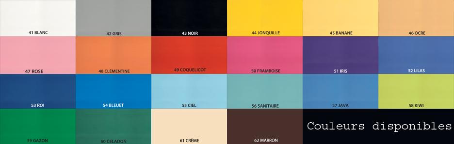 Nuancier Ecopostural 22 couleurs disponibles