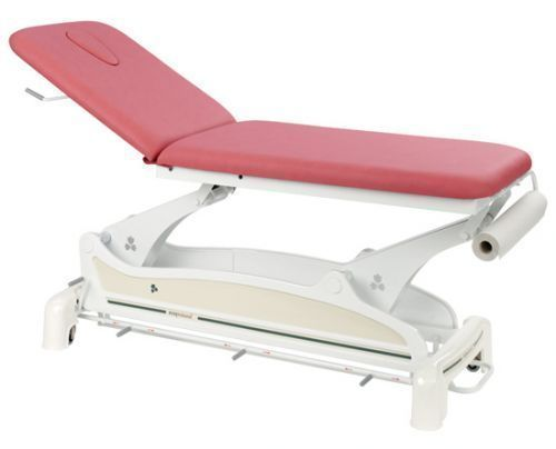 Ecopostural 2 section electric table with circular rail foot control C3533