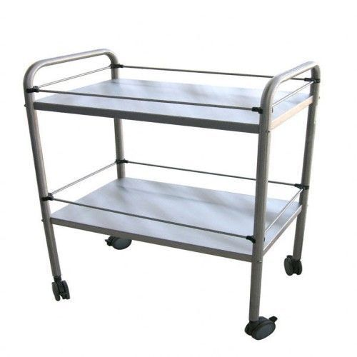 2 shelves inox trolley, with adjustable rail