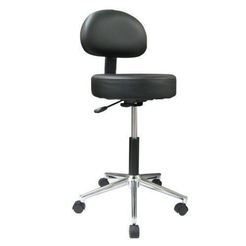Swivel stool with chromium-plated base and backrest
