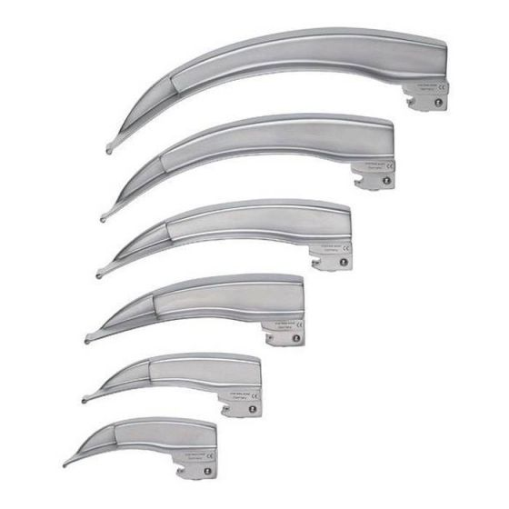 Curved blades Mac Intosh and Miller with F.O for Ri-Integral Riester Laryngoscope